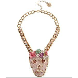 Betsey Johnson Floral Skull Pendant Necklace